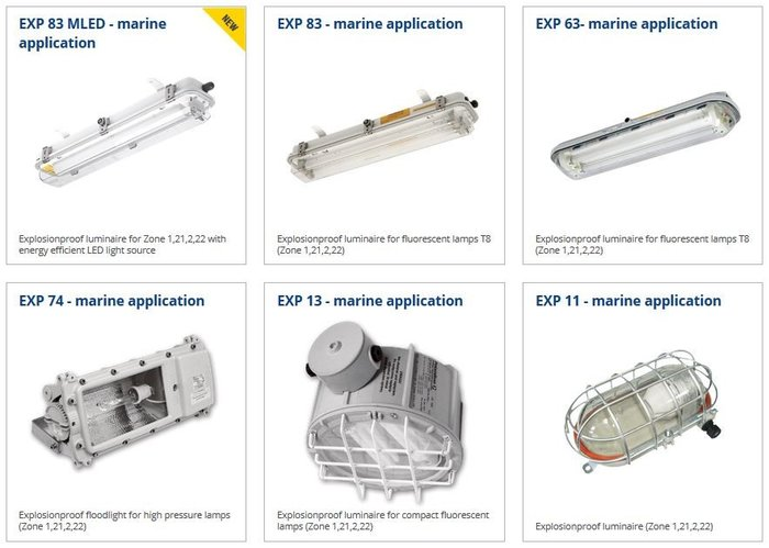 Explosion proof luminaires for marine